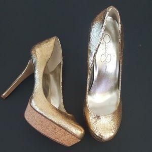 💫Metallic Gold Platform Heels